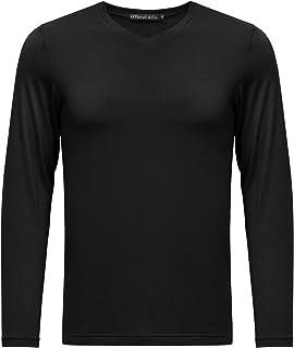 OThread & Co. Men's Long Sleeve V-Neck T-Shirt Plain Basic Spandex Tee