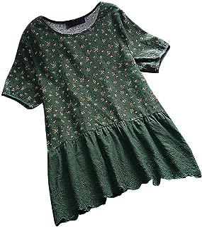 Women's Blouse Cotton Linen 3/4 Long Sleeve Floral Print O Neck Loose Tops Plus Size S-3XL