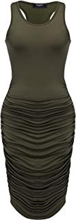 Zeagoo Ruched Bodycon Dress for Women, Midi Stretchy Sleeveless Tank Dress S-XXL