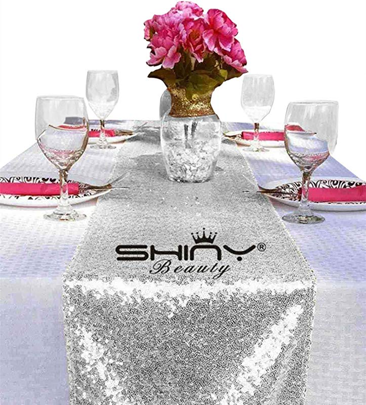 ShinyBeauty Silver Table Runners 12x72inch Silver Baby Shower Decorations Sequin Table Runner Y1029