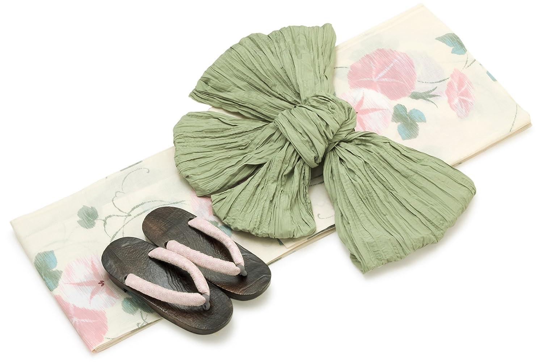 レディース浴衣セット[浴衣/兵児帯] bonheur saisons 白系 アイボリー ペールピンク 薄緑色 朝顔 花柄 綿麻 浴衣セット 女性 フリーサイズ