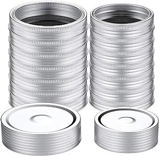 32 Pcs Wide/Regular Mouth Canning Lids (86mm+70mm), Lids and Rings for Mason Jar Canning Lids, Split-Type Lids Leak Proof ...