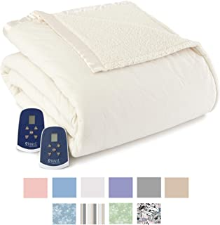 Thermee Micro Flannel Electric Blanket with Sherpa, Sand, King