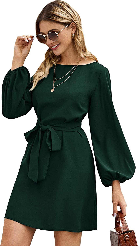 Floerns Women's Casual Knot Front Long Lantern Sleeve Short Dress