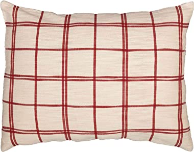 """Piper Classics Red Double Windowpane Standard Size Pillow Sham, 21"""" x 27"""", Rustic Farmhouse Bedding, Country Cottage, Natural"""
