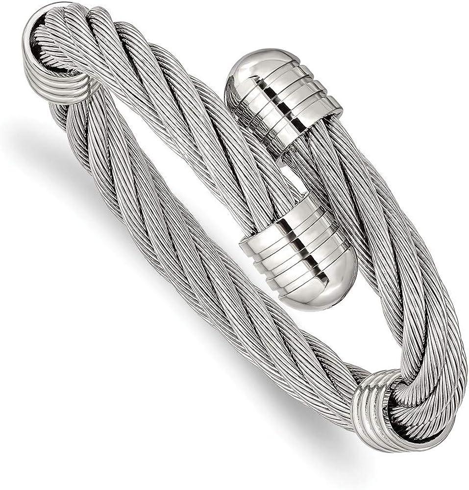 Solid Stainless Steel Adjustable Twist Wire Cuff Bangle Bracelet (Width = 17mm)