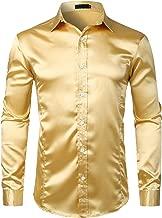 ZEROYAA Men's Shiny Disco Shirt Slim Fit Silk Like Satin Dress Shirts for Dance Prom