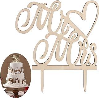 BESTOMZ Kuchendeckel Hochzeit Kuchen Topper Cake Topper Kuchendekoration Holz Farbe
