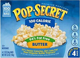 Pop Secret 94% Fat Free Butter Popcorn, 100 Calorie Pop, 4-Count