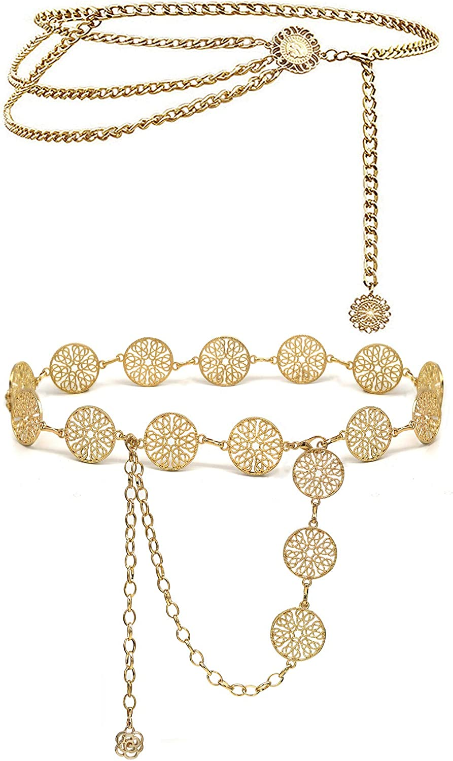 KLZJR Two Designs Sun Flowers Alloy Waist Chain Crystal Body Chain for Women and Ladies