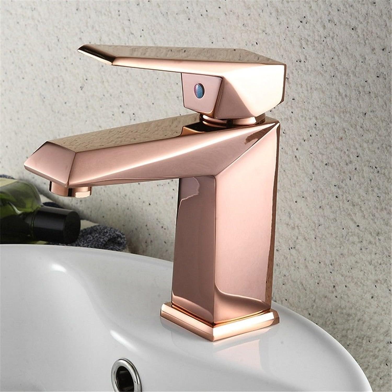 AQMMi Bathroom Sink Mixer Tap Retro pink gold Chrome Brass Single Lever 1 Hole Ceramic Valve Hot and Cold Water Single Lever Taps for Bathroom Sink