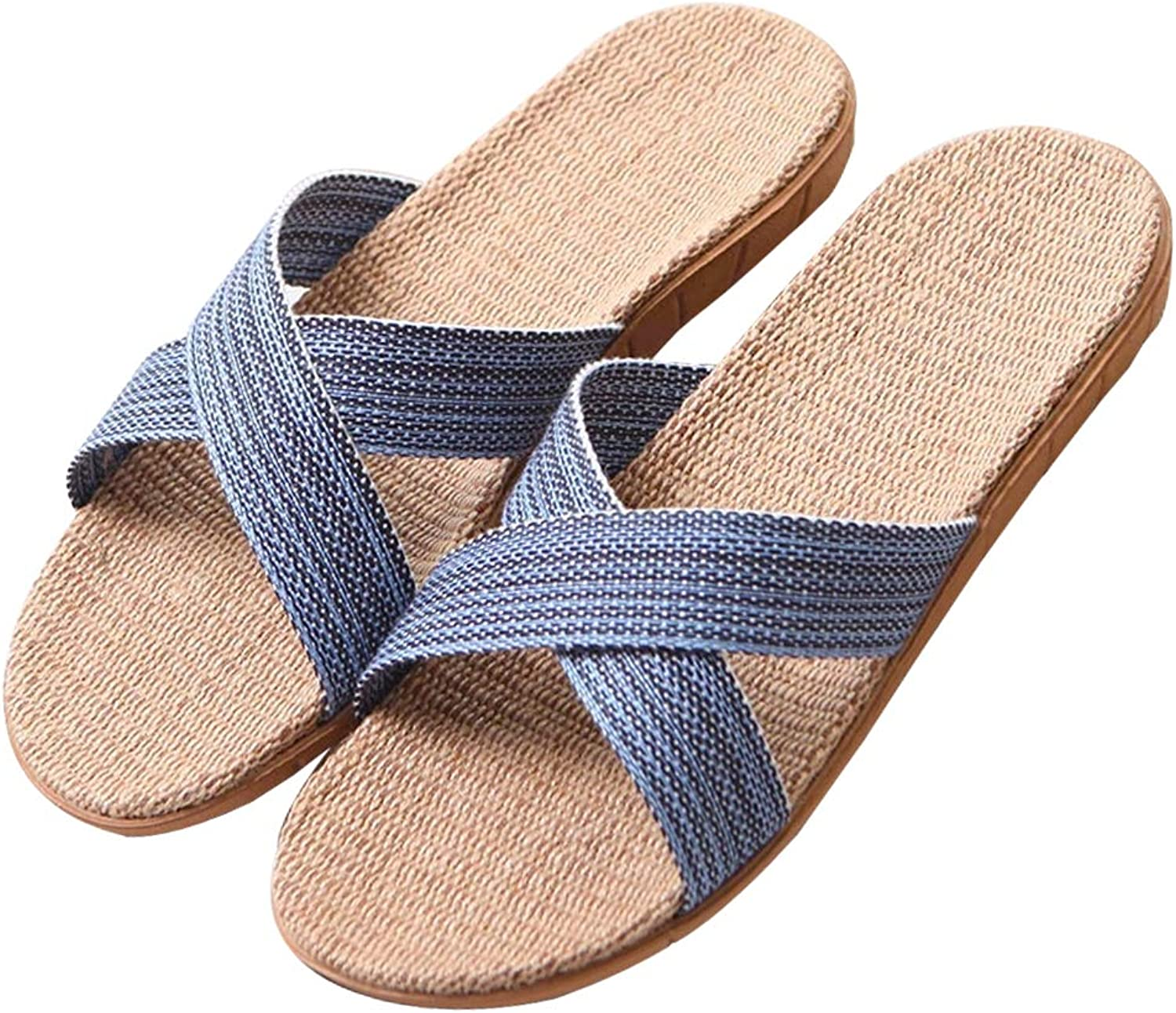 Anddyam Unisex Home Slippers Flax Men and Women House Slipper Open-Toe Breathable