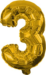 Procos Number 3 Golden Foil Balloon (2.7ft / 85cms)