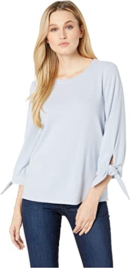 Elbow Sleeve Tie Cuff Brush Jersey Top