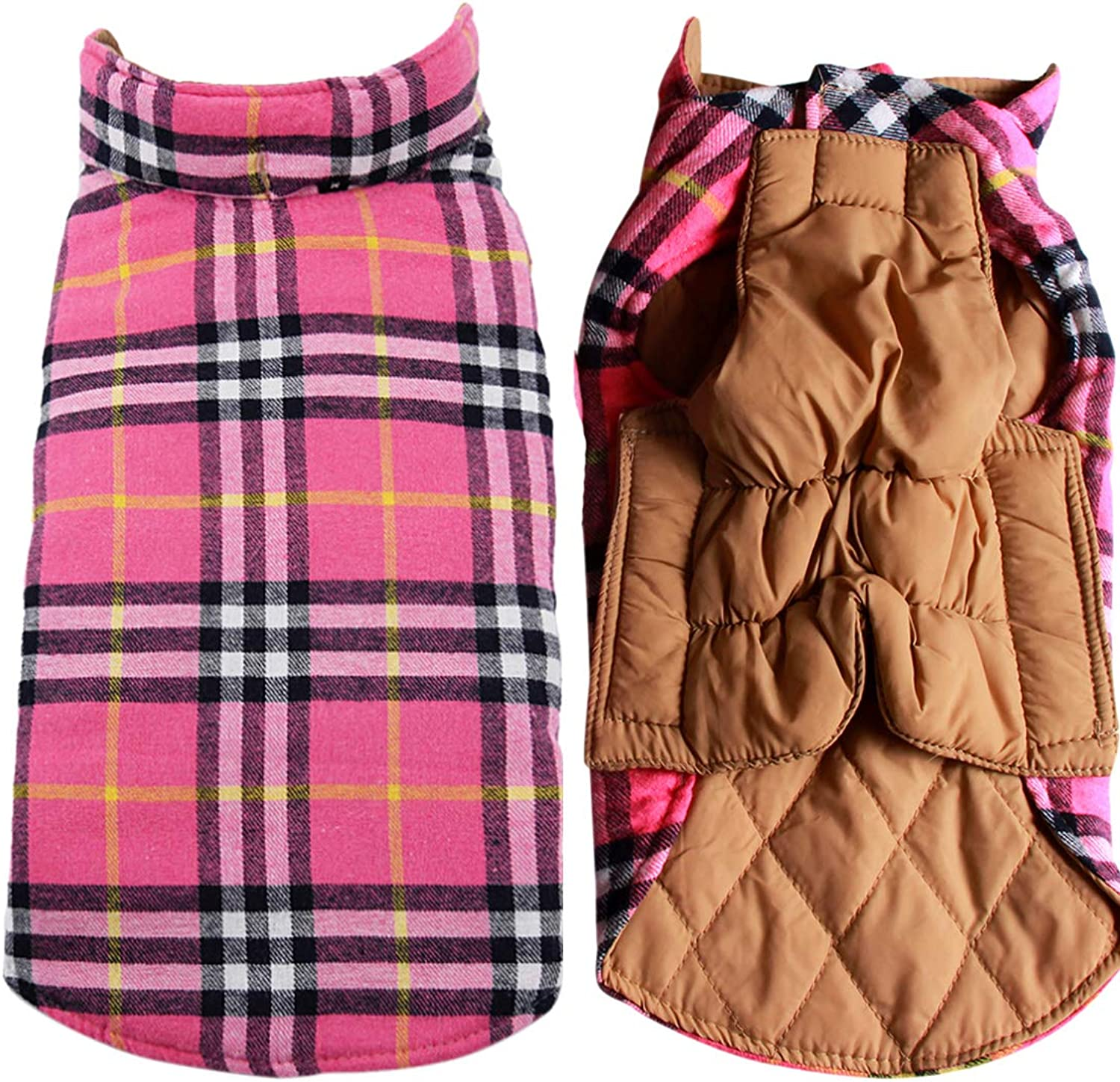 JoyDaog Reversible Plaid Dog Coat(7 Sizes) Waterproof Windproof Warm for Cold Winter Weather Dog Jacket Pink XS