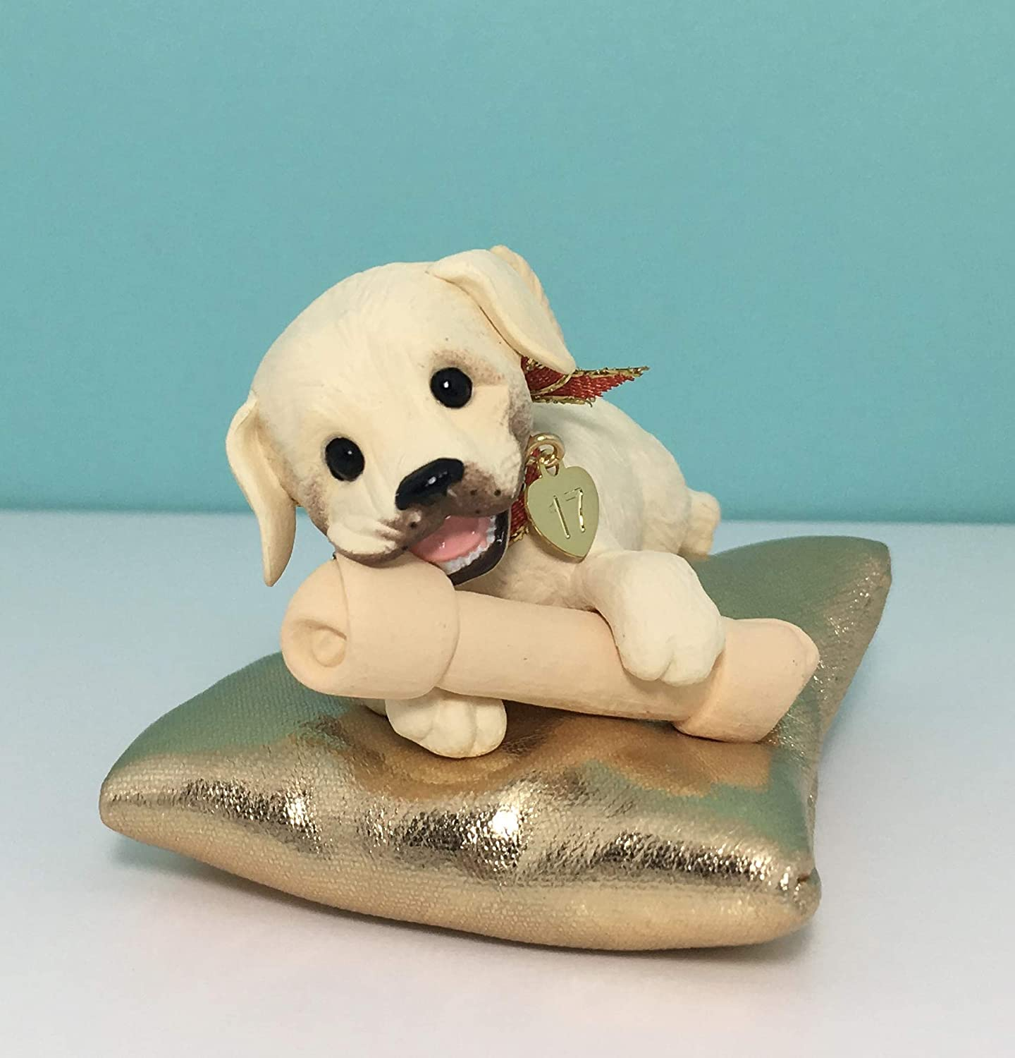 Hallmark 2017 Playful Puppy Surprise Christmas Ornament Limited White with gold Pillow