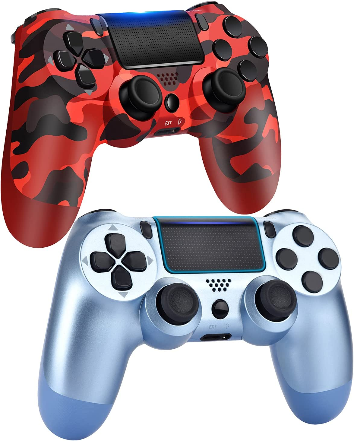 AUGEX 2 Pack Game Controllers for P-4,Wireless Controller Compatible with P-4 Console;AUGEX Remote Control with Dual Vibration Game Joystick (Blue Red)