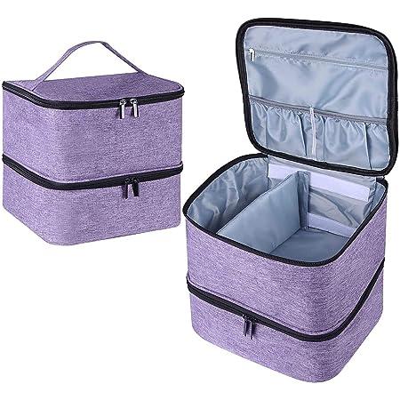 Famard Nail Polish Organizer and Nail Dryer Case, Double-Layer Nail Polish Storage Bag Holds 42 Bottles (15ml ) and 1 Led Nail Lamp,Portable Nail Polish Holder with Adjustable Dividers (Purple)