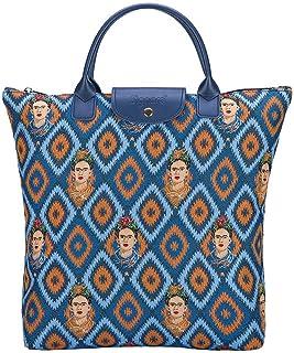 Signare Tapestry Foldable Tote Bag Reusable Shopping Bag Grocery Bag with Frida Kahlo Design
