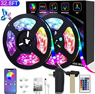 LED Strip Lights,�32.8ft (10m) SMD 5050 Light Strips with Bluetooth Controller Sync,Suitable for Room, TV, Ceiling, Cupboard Bar Home Decoration(32.8FT)