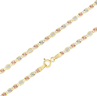 Ioka 14K Yellow OR White Solid Gold 2.1mm Classic Rolo Cable Chain Necklace with Lobster Clasp