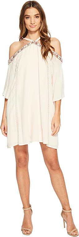 Brigitte Bailey - Esme Cold Shoulder Embroidered Halter Dress