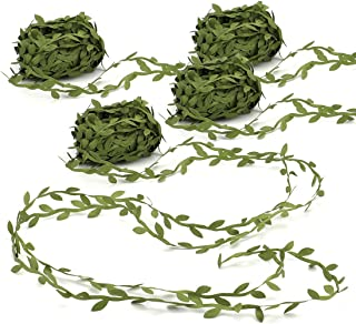 Tosnail 4 Roll Total 87.5 Yard Olive Green Leaves Leaf Trim Ribbon Artificial Vines Leaf Garland - Great for DIY Craft Gift Wrapping Party Wedding Home Decoration