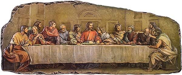 《最后的晚餐》外露镶边 18 英寸 5 寸树脂石墙面牌匾