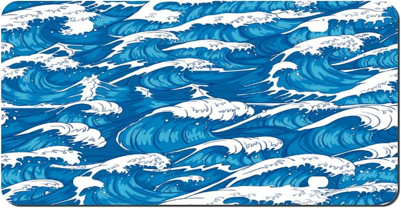 DKISEE Super Special SALE specialty shop held Storm Waves Seamless Raging F License Plate Ocean Pattern