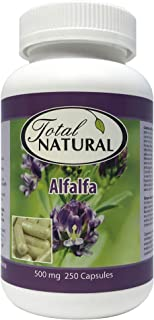 Natural Alfalfa Supplement 500mg 250 Capsules [1 Bottles] by Total Natural, Rich in Vitamins & Trace Minera...