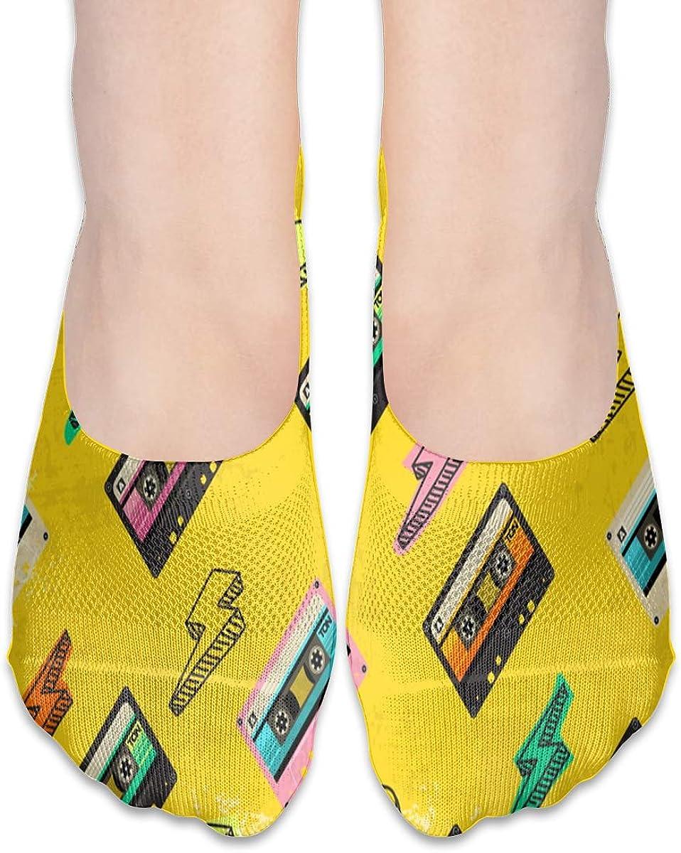 No Show Socks Women Men For 80'S Cassette Tape Vintage Flats Cotton Ultra Low Cut Liner Socks Non Slip