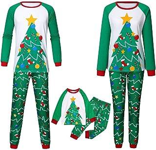 Pijamas Familiares Verde Hombre Mujer Niños Conjunto Invierno Camisetas de Manga Larga y Pantalones Padres e Hijos POLP Pijama Party Estampado de Arbol