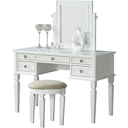 Hlc Charlotte 2 Piece Vanity Set With Power Strip And Usb In Ivory Furniture Decor
