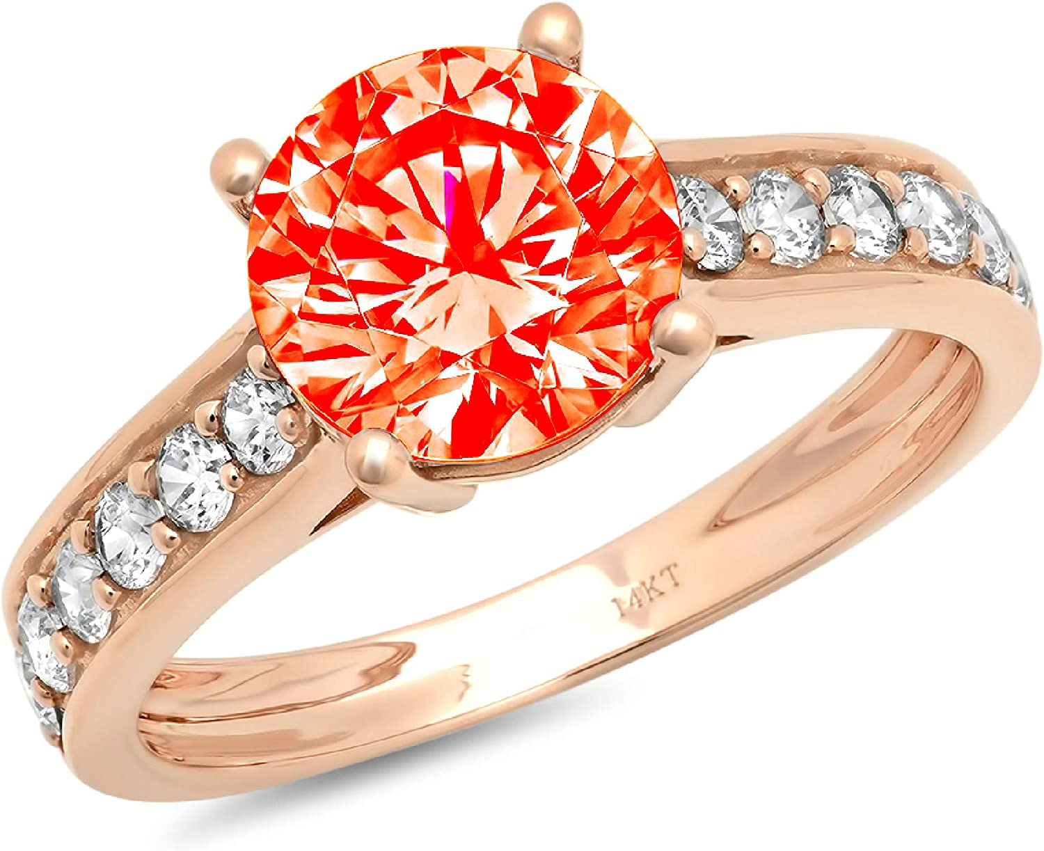 2.19ct Brilliant Round Cut Solitaire with accent Red Ideal VVS1 Simulated Diamond CZ Engagement Promise Statement Anniversary Bridal Wedding Accent Ring 14k Rose Gold