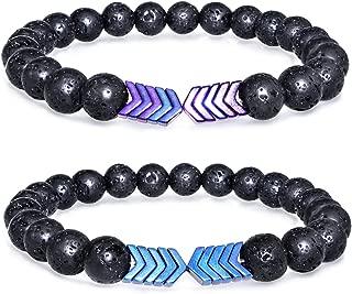 2 Pcs Lava Rock Stone Bead Bracelet Arrow Essential Oil Diffuser Volcanic Stone Bracelet for Men Women