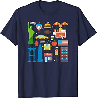 New York City NY Icons Souvenir Travel Gift for Kids T-Shirt