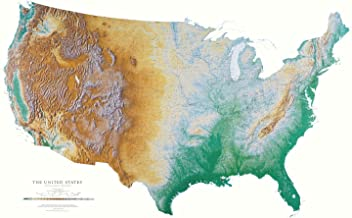 United States Topographic Wall Map by Raven Maps, Laminated Print