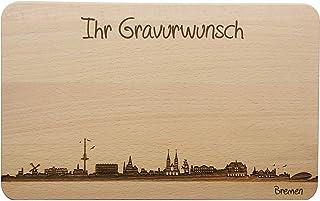 SNEG Brotzeitbrett Bremen Skyline | Frühstücksbrettchen aus Buche | Holz Schneidbrett | Geschenk mit Gravur | Frühstücksbrett Standard 22x14x1cm, 2. mit persönlicher Gravur