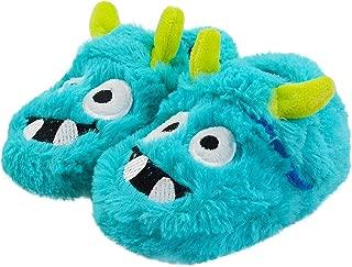 Boys Warm Comfy Velcro Slippers Cotton-Shaped Monster Upper House Cartoon Indoor Slipper