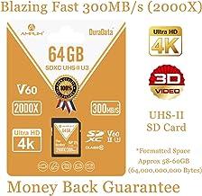 UHS-II SD Card 64GB SDXC - Amplim High Performance 300MB/S (2000X) UHS2 Extreme Speed 64 GB/64G XC Memory Card. V60 4K 8K UHSII TF Flash for Fujifilm, Nikon, Olympus, Panasonic, Sony Video Cameras