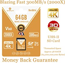 64GB V60 UHS-II SDXC SD Card - Amplim Blazing Fast 300MB/S (2000X) UHS2 Extreme High Speed 64 GB/64G SD XC Memory Card. 4K 8K Video Camera UHSII Card for Fujifilm, Nikon, Olympus, Panasonic, Sony