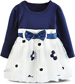 NNJXD Infant Baby Girls Long Sleeve Cotton Flower Dress for 6-24 Months