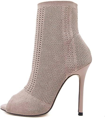 Chaussures dames Les Les Creux Bottes Haut Talon Tricot