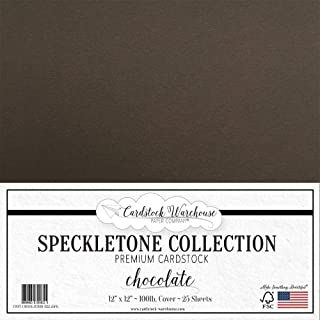 Chocolate Brown Speckletone Recycled Cardstock Paper - 12 x 12 inch - Premium 100 LB. Cover - 25 Sheets