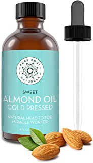 Sweet Almond Oil, 4 fl oz - Cold Pressed and 100% Pure - for Hair, Skin, Nails, Therapeutic Massage, Carrier Oil - by Pure...