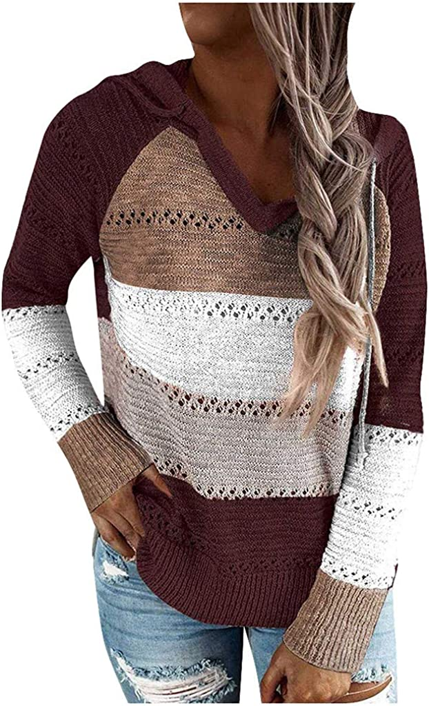 Women's Lightweight Color Block Stripe Hooded Sweaters Casual Hoodies Pullover O-Neck Sweatshirts