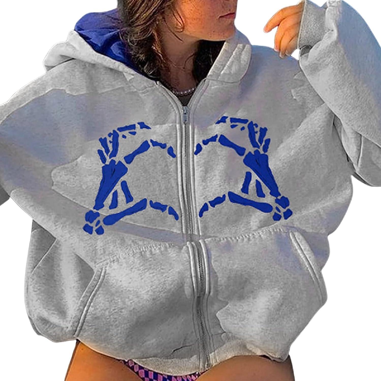 Vintage Zip Up Hoodies for Women Rhinestone Graphic Oversized Sweatshirts Aesthetic Pullover Jackets Gothic Streetwear