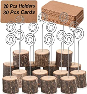 Toncoo 20Pcs Premium Wood Place Card Holders with Swirl Wire and 30 Pcs Kraft Place Cards, Memo Holder, Table Number Holders Stands, Name Cards Photo Holders for Wedding Party Sign Food Cards Label