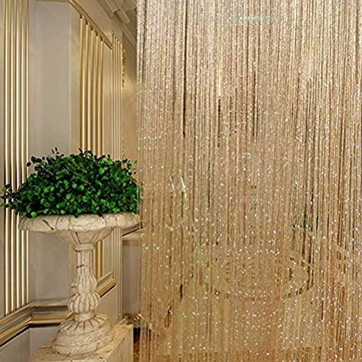 Vagasi 118x100 inch String Curtain Decorative Fringe Panel Strip Tassel Room Divider for Wedding Party Home