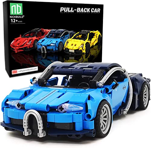 Nickbuild Pull-Back Sports Car BGTIT MOC Building Blocks Toy, Collectible Play Model Set and Building Kit for Kids and Teens, 1:18 Scale Pull Back Sports Car Model (363 Pieces)